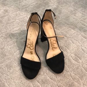 Sam Edelman ankle strap black suede heels. Sz 12.